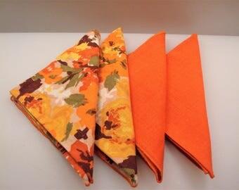 Vintage Set of (4) Orange/Floral Linen Dinner Napkins - Excellent Condition!!