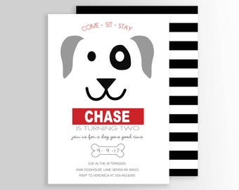 Modern Dog Birthday Party Invite - Puppy Invitation - Puppy Pawty - Party Supplies