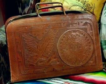 Mexican Leather Laptop Briefcase Mayan Calendar Southwest Mexico IPad Case  Messenger Bag