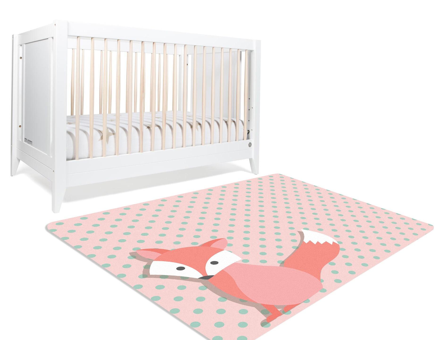 fox rug animal nursery decor woodland rug baby girl. Black Bedroom Furniture Sets. Home Design Ideas