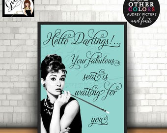 Custom Welcome Signs, Audrey Hepburn inspired, Table decorations, wall art, home decor, bridal shower, baby shower,  8X10
