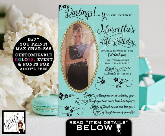 40th BIRTHDAY breakfast at invitation, Audrey Hepburn party theme and co invites, customizable quote & Audrey picture. PRINTABLE 5x7