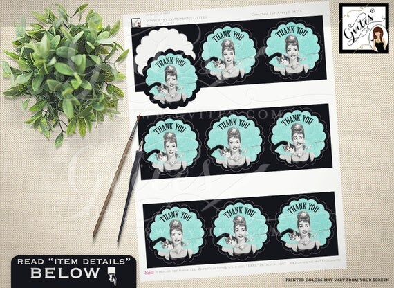 """Cupcake Toppers PRINTABLE, Audrey Hepburn blue theme, thank you Breakfast at toppers. 2.5x2.5""""/9 Per Sheet {Designed For Avery® 08218}"""