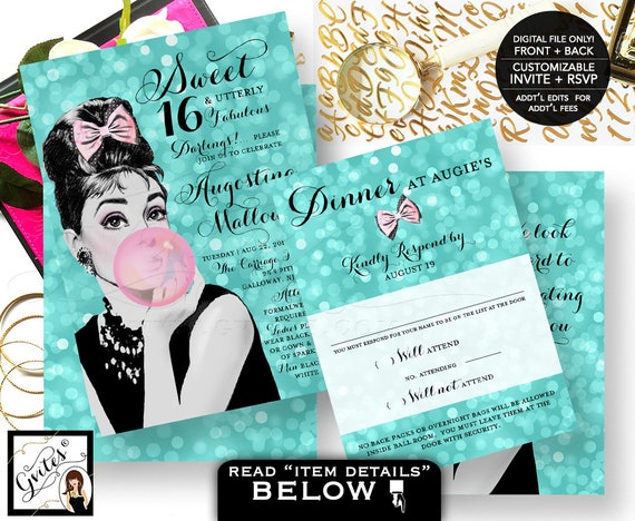 Sweet 16 or Quinceanera Birthday Invitation, breakfast at Audrey Hepburn invites, double sided, invite + response card, Digital File Only!