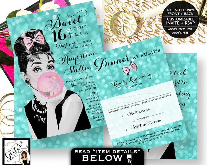 Sweet 16 Invitation Breakfast at Tiffany's birthday, quinceanera Audrey Hepburn teen invites double sided, invite + rsvp Digital File Only!