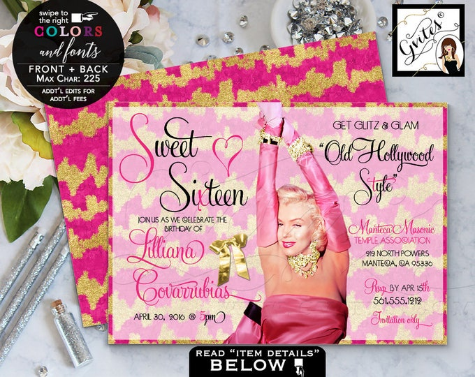 Pink and Gold Sweet 16 invitations, gold glitter birthday invitations, Marilyn Monroe, mis quince birthday glitz & glam 7x5 Digital File