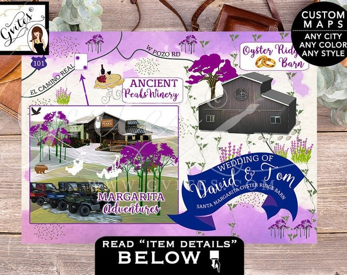 Custom Maps Santa Margarita Oyster Ridge Barn California Wedding Ombre purple lavender, PERSONALIZED weekend maps, 7x5, ANY city & theme.