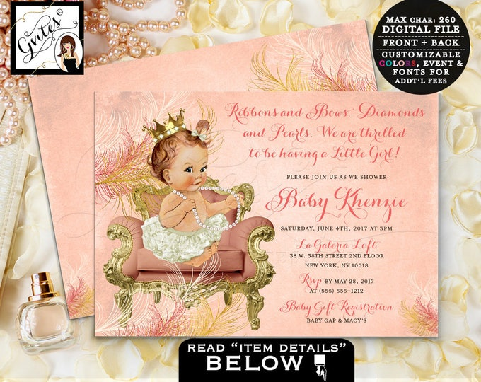 Coral baby shower invitation, vintage coral and gold, ivory cream printable invitation, princess baby girl, digital, 7x5 double sided.
