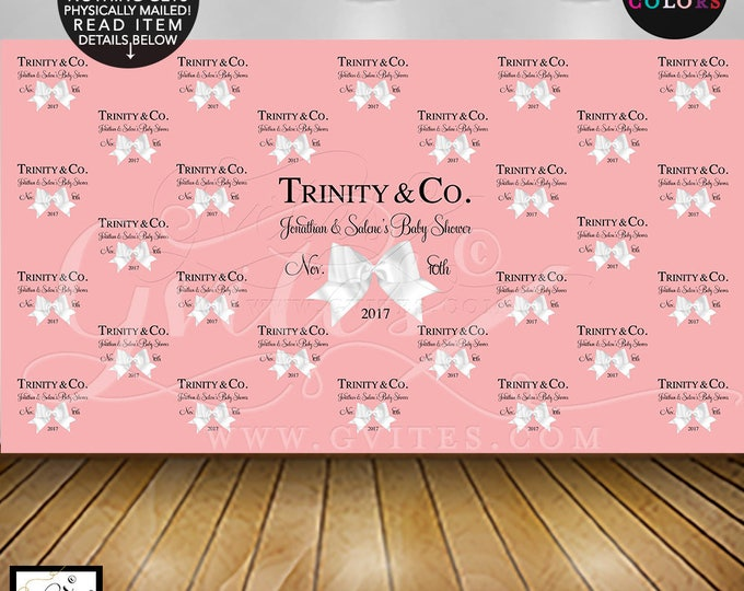 Step and Repeat Backdrop Baby Shower, Coed Shower, Coral Peach wall backdrop photo booth. DIGITAL FILE ONLY!