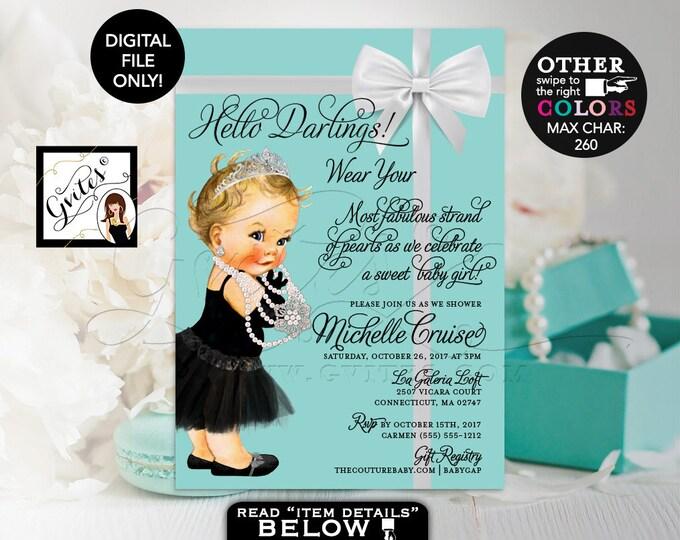"Baby and Co Baby Shower Invitation, Audrey Hepburn Baby Girl Vintage, Princess Silver Tiara, White Bow, DIY, DIGITAL FILE, 5x7"" #BATGBB102"