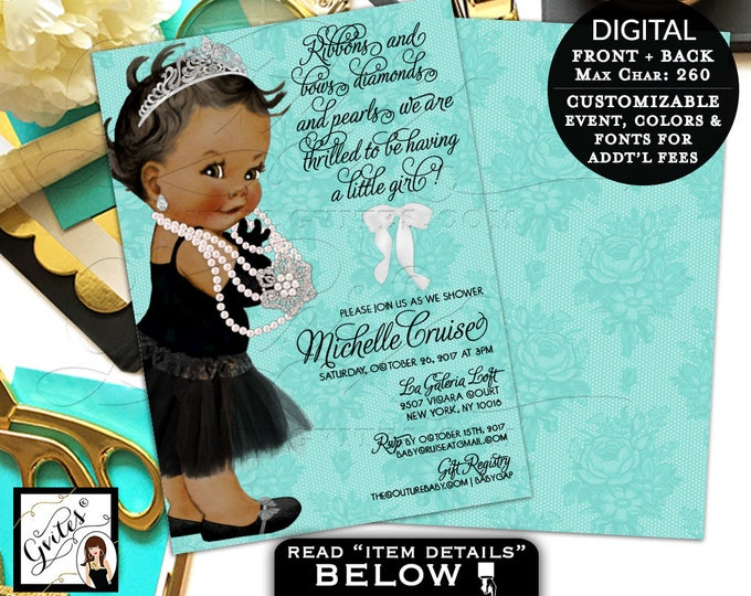"Audrey Hepburn baby girl invitations, baby shower tutu dress, diamonds pearls, princess double sided, digital, 5x7"" {Blue French Lace}"