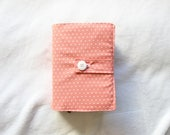Sale - Medium/Regular LDS Scripture Cover in Salmon and white polkadots. ONLY ONE available.
