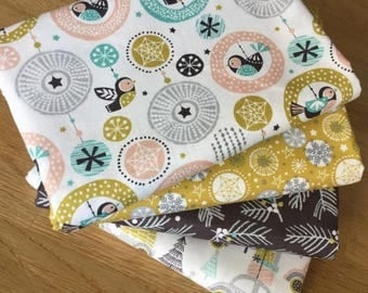 MERRY & BRIGHT Fat Quarter fabric bundle B Christmas Festive