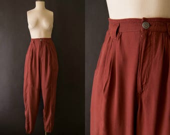 vintage 1980s pants / rust colored rayon trousers / medium