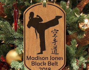 Female, KARATE Wood Memento Ornament, Personalized with NAME & Belt! Woman, Girl Christmas Ornament