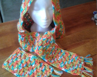 Crochet hooded scarf