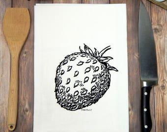 Strawberry Flour Sack Tea Towel - Black Ink