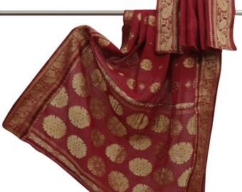 Free Shipping Vintage Antique Woven Used Pure Cotton Saree Maroon Ethnic Sari Craft Fabric 5YD CS9957