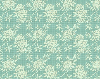 TILDA HARVEST - Flower Bush Teal 481494 - 1/2 yard