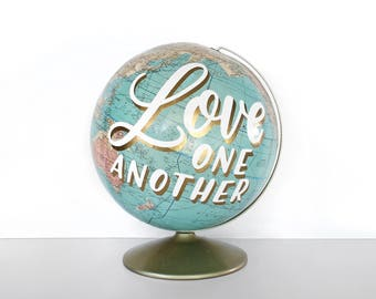 Love One Another Painted World Globe Vintage Travel Love WildandFreeDesigns Home Decor Gold