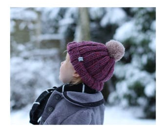 Bobble Hat, Knitted Hat, Hand Knit, Kids Hat, Childs Hat, Bertie Baby and Toddler Bobble Hat in Aubergine