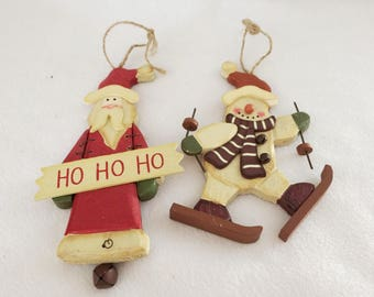Vtg Wood Santa Clause and Snowman Christmas Ornaments