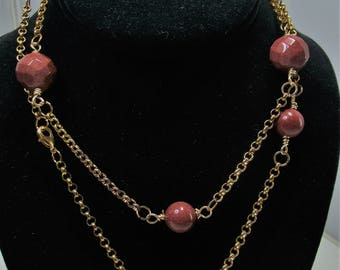 "34"" Goldstone Station Necklace and Earring set"
