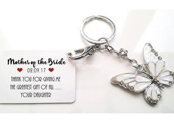Mother of the Bride * Mother of the Groom Personalised Wedding Butterfly Keyring