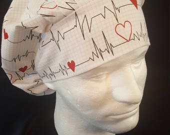 Heart Beat Hearts EKG Bouffant Surgical Scrub Hat