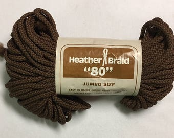 "Braided Macrame Cord Heather Braid ""80"" Color Brown"