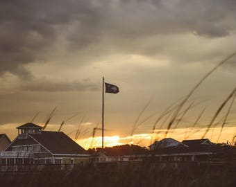 South Carolina State Flag Sunset in Myrtle Beach Photography - East Coast Carolinas Coastal Pastel Wall Art Home Decor Fine Art Print