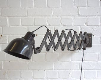 Large Industrial Wall Mounted German Scissor Lamp Circa 1950's