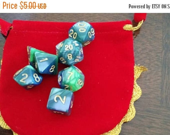 Retrocon Sale - Jade and Gold 7 Die Polyhedral Set with Pouch