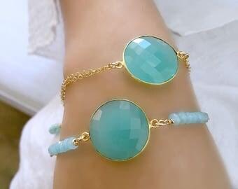 aqua bracelet aqua gemstone Jewelry aqua chalcedony bracelet 14k gold filled gemstone bracelet personalized initial boho chic jewelry gift