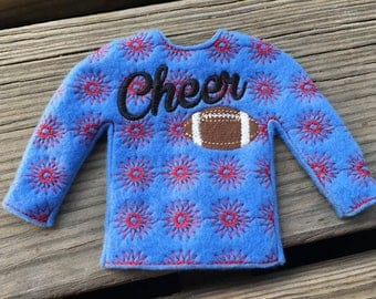 100% In the Hoop  - Cheer - Cheerleader - Doll Sweater - 5 x 7 Only - Fleece is Suggested -  DIGITAL Embroidery Design