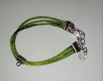 X 1 knotting green 14 cm + 4, 5 cm chain Bracelet