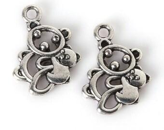 X 2 bear and her cub silver 19mm Tibetan