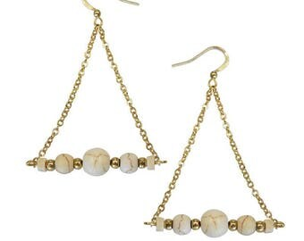 Triangles Yogali earrings gold end 24 carat gold