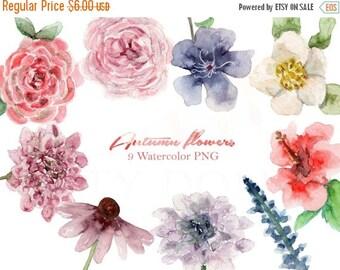50% Off Fall Watercolor Clipart Autumn Floral Flowers Digital Download Invitation Bridal Paint Original