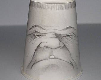 Grumpy Tooth Guy  - cup art - original drawing - coffee cup redux - Micali -Free domestic U.S. Shipping