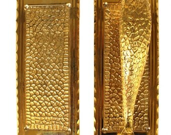 Arts and Crafts or Bungalow Push and Pull Plates in Solid Thick Brass Commercial