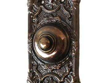 "Antique Replica Brass Door Bell Button Victorian Style 7.5"" Tall Aged Bronze Finish"