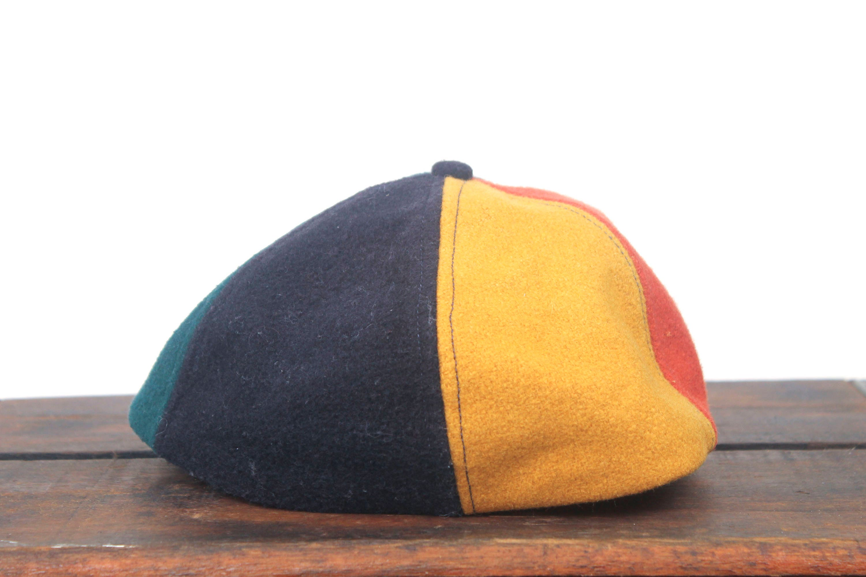 great vintage minimal blank rainbow color block wool unstructured one size hat baseball cap