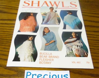 Shawls, by Bucilla, Knit Crochet,  photos and directions for 6 different shawls. how to books, craft books, Craft supply, VG condition
