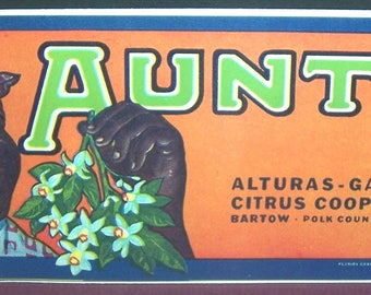 Vintage unused Aunty citrus crate label, black interest