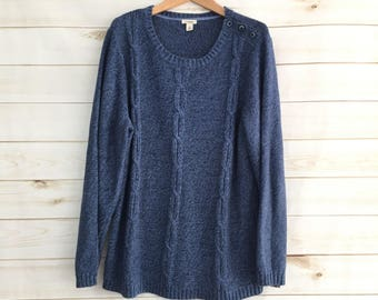 Vintage L.L. Bean Blue Oversized Cable Knit Sweater Women's Large