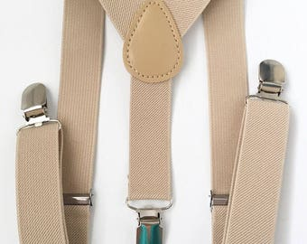 FREE DOMESTIC SHIPPING! Tan Y-Back suspenders fit 6 months to adult