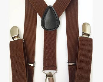 FREE DOMESTIC SHIPPING! chocolate brown Y-Back suspenders fit 6 months to adult