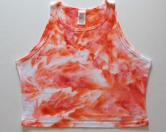 XL Peach Watercolor High Neck Crop Top