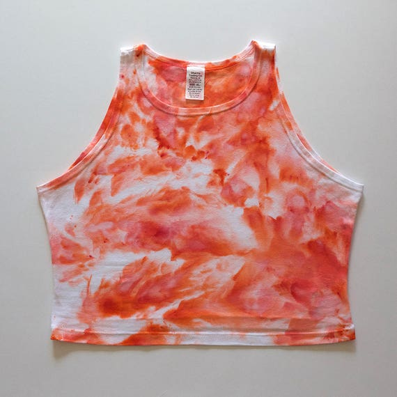 XL Peach Watercolor High Neck Crop Top